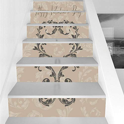 Mountain Laurel Nursery - Stair Stickers Wall Stickers,6 PCS Self-adhesive,Taupe,Happy Valentines Day Stylized Hand Writing Laurel Leaves Forming a Heart Victorian,Taupe Tan,Stair Riser Decal for Living Room, Hall, Kids Room D