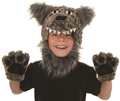Underwraps Kid's Children's Animal Pack Dress Up Kit - Wolf Childrens Costume, Gray, One Size -