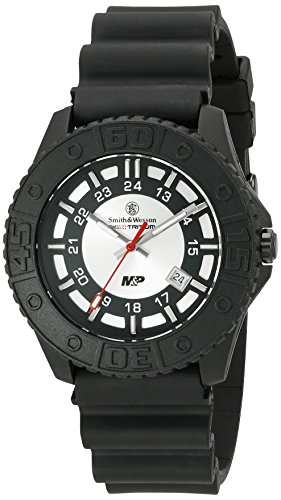 Smith & Wesson Men's SWW-MP18-GRY M&P Swiss Tritium H3 Silver Dial Rubber Band Watch