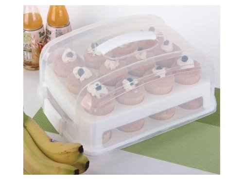 Adjustable 2 Layer Cupcake Holder And Cake Carrier Container Holds 24 cupcakes, ideal way to store and transport your cakes, handy cupcake carrier, The carrier comes complete with 2 layers, each holding 12 cupcakes, Store and transport your cupcakes with