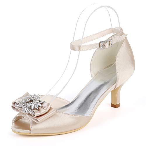 Peep Buckle Boda 35 Champagne Heel yc De Tacones L Altos Kitten Toe Mujer Zapatos Cordón Satén 43 6cm Ipwzq06
