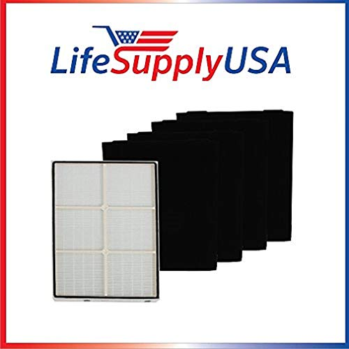 LifeSupplyUSA Complete Set True HEPA Replacement Filter for Kenmore 83375 83376 with Plastic Frame Includes 4 Pre-Filters
