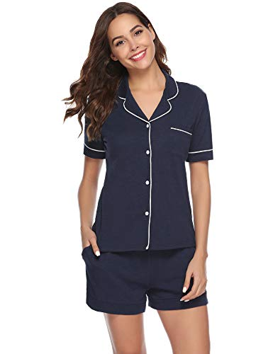 Aiboria Womens Summer Pajamas Short Sleeve Cotton Button Down Sleepwear Loungewear Pj Set Navy