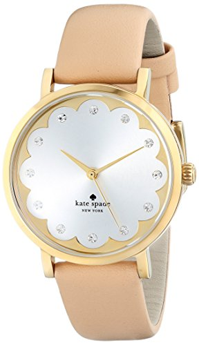 kate spade new york Women's 1YRU0586 Metro Watch With Beige Leather Band