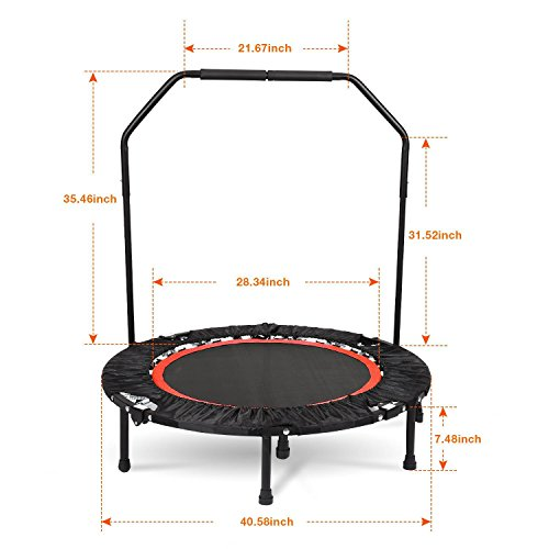 "Vividy Folding Trampoline, 50""/40"" Foldable Safe Fitness Cardio Trampoline Trainer with Adjustable Handrail for Kids Adults Load 220lbs"