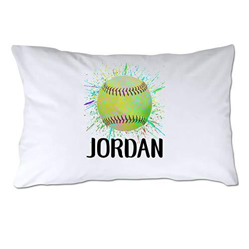 Personalized Splatter Paint Softball Pillowcase - Standard Size ()