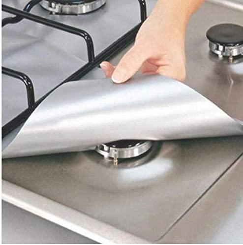 Onsinic 1Pcs Silber Gasherd-Brenner-Abdeckung Liner Schutzmatte Waschbar Home Küchen ToolsReusable Glass Fiber Non Stick
