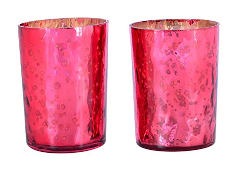 3' Small Pillar Candle (MystiqueDecors Tealight Votive Candle Holders Hammered Glass Votives Antique Silver Mercury Finish Red in Set of 4 for Party & Home Decorations on Thanksgiving Christmas Gift)