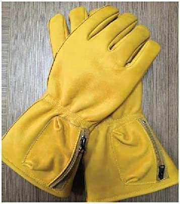 手袋 日常 実用 メンズレザーグローブオールインワンロングバイクグローブ (Color : YELLOW, Size : L)