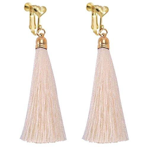 Bohemian Whtie Silk Fringe Thread Clip on Earrings Heart Clips Long Tassel Dangle Wedding Prom Earring by Sojewe