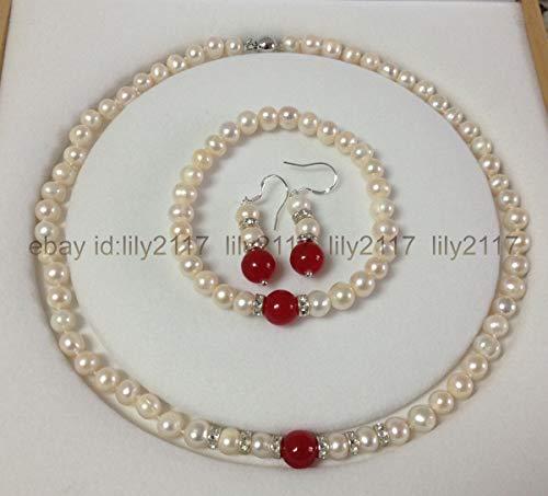 FidgetGear 7-8MM White Cultured Pearl/Red Jade Bracelets Necklace Earrings Set ()