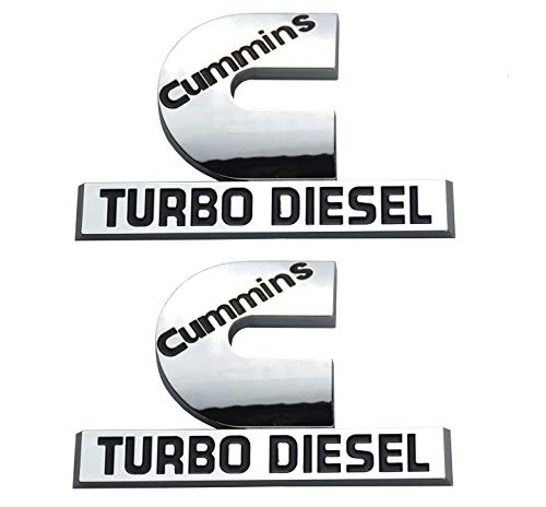 Aimoll 2 Pack Cummins Turbo Diesel Emblems, Badges High Output Nameplate Small Size Replacement Sticker for Dodge RAM 2500 3500 Fender Emblem Mopar (Chrome)