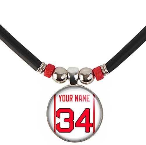 SpotlightJewels Boston Personalized Baseball Jersey Necklace with Your Name and Number