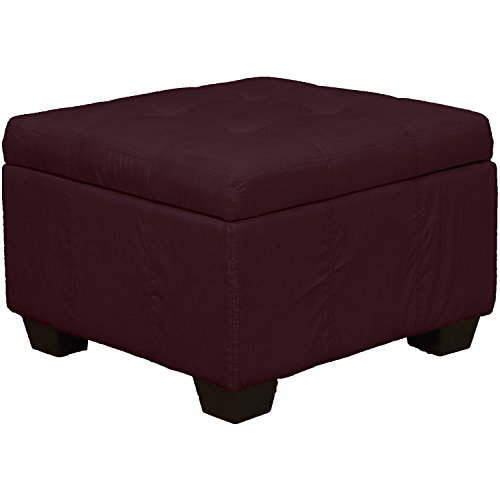 Tufted Padded Hinged Storage Ottoman Bench, Microfiber Suede Wine Red (24 Inch Wine Storage)