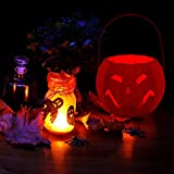 yanbirdfx Halloween Jack-O-Lantern Pumpkin Lamp LED Light Screaming Candy Holder Kids Gift