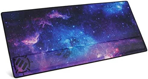 ENHANCE XXL Large Extended Gaming Mouse Pad with Ergonomic Memory Foam Wrist Rest Support (31.5 x 13.78 x 1 inches) - Anti-Fray Stitching & Soft Cushion Mat Surface (Galaxy)