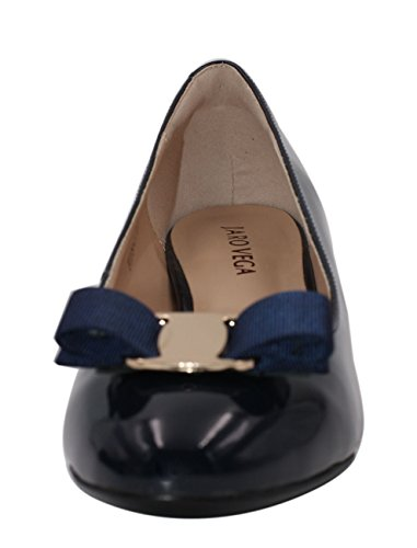 JARO VEGA Women's Glossy Patent Leather Low Chunky Heel with Bow Dress Pumps Shoes Navy pre order D8QuS