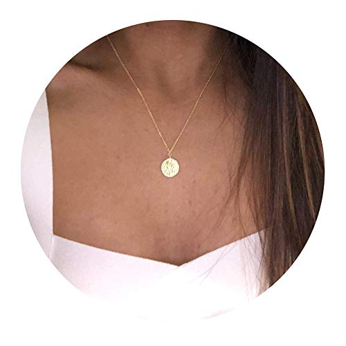 Befettly 14k Gold Fill Dainty Moon Phase Simple Moon Necklace Crescent Moon Full Moon Pendant Necklace-Full Moon -