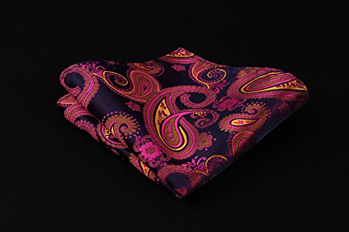 HISDERN Men's Ascot Paisley Floral Jacquard Woven Gift Cravat Tie and Pocket Square Set Pink by HISDERN (Image #4)