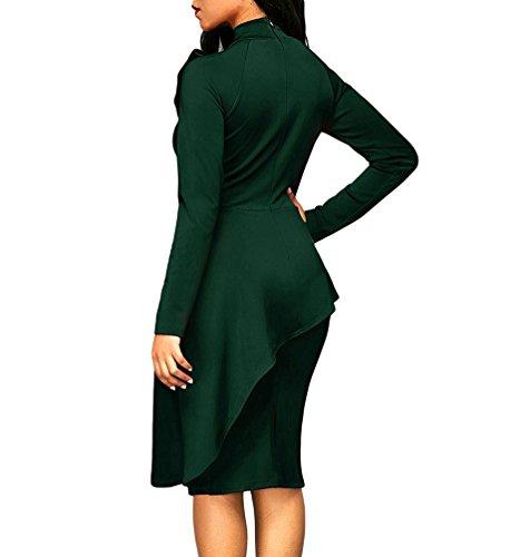 Midi Abito Donna Festivo Da Niseng Bodycon Verde Manica Asimmetrico Arco Cocktail 2xl Lunga Elegante Vestito SqxAwq8
