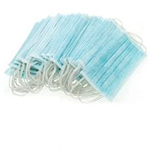 ieasysexy Disposable Blue Surgical Dust Filter Mouth Cover Beauty Nail Salon Face Mask - 3 Ply With Ear Loops x 50