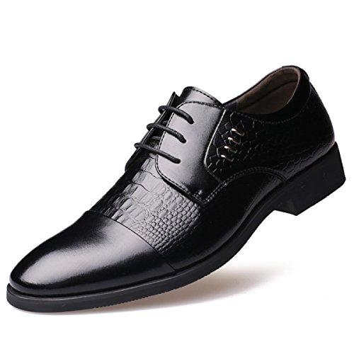 GRRONG Vestimenta Formal Zapatos De Cuero De Los Hombres De Negocios Al Apuntado Negro Marrón Black