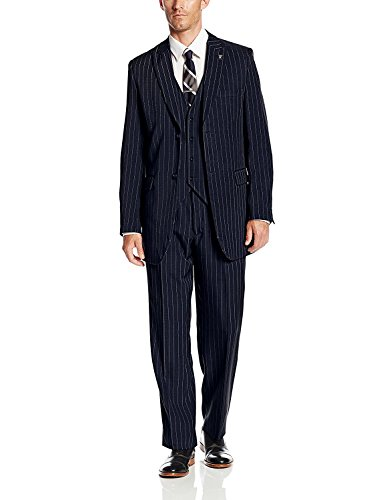 Stacy Adams Men's Mars Vested 3 Piece Suit, Navy/White, 46 Regular (And Suit Pinstripe Black White)
