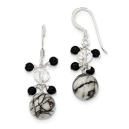 Sterling Silver Crystal/Onyx/Zebra Jasper Earrings
