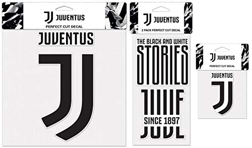 WinCraft Bundle 3 Items: Juventus Football Club 1 Large Decal, 1 Sheet of 2 Small Decals, and 1 Small Decal (Juventus Car Accessories)