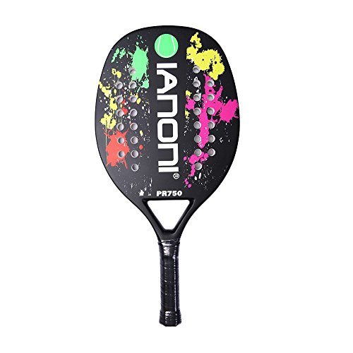 ianoni Beach Tennis Racket, Carbon Fiber Grit Face with EVA Memory Foam Core Beach Tennis Racket (Black)