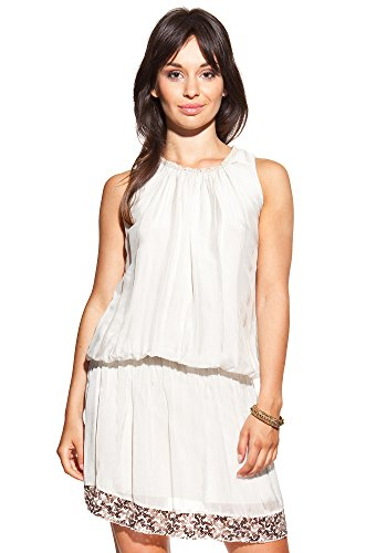 Laura Moretti - Vestido de seda con cuello redondo y lentejuelas Crudo