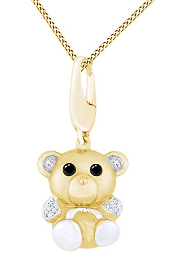 White & Black Natural Diamond Teddy Bear Animal Charm Pendant Necklace in 14k Solid Yellow Gold (0.05 Ct)