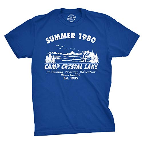 (Mens Summer 1980 Mens Funny T Shirts Camping Shirt Vintage Horror Novelty Tees (Blue) - L)