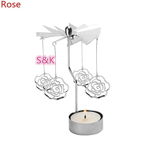 Amapower Hot Sale Home Decor Sliver Candle Holder Rotating Spinning Christmas Tealight Revolving By The Fire