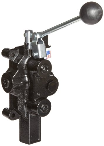 Prince RD-2555-T4-ESA1 Directional Control Valve, Logsplitter, 4 Ways, 3 Positions, Spring Center To Neutral, Cast Iron, 3000 psi, Lever Handle, 20 gpm, In/Out: 1/2'' NPTF, Work: 1/2'' NPTF by Prince Manufacturing