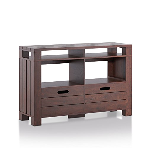 Cheap ioHOMES Darlette Rustic Plank Style Console Table with 2 Removable Bins, One-Size, Vintage Walnut