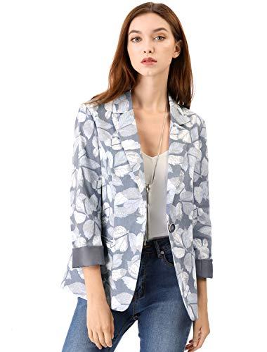 Allegra K Women's Classic One Button Boyfriend Printed Blazer Jacket M Grey