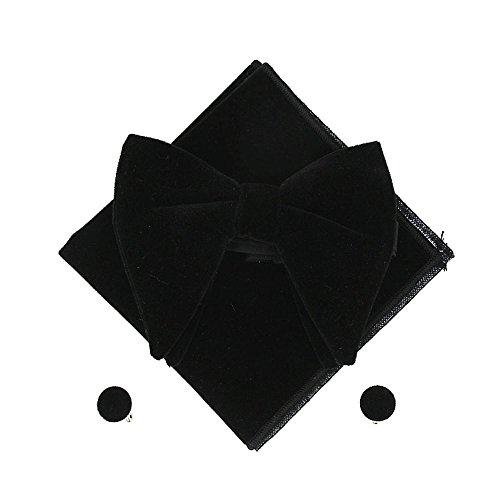 Men Velvet Oversized Bow Tie Pocket Square Cufflinks Set Bowtie Hanky Cuff Links (Black) (Black Velvet Bow Tie)