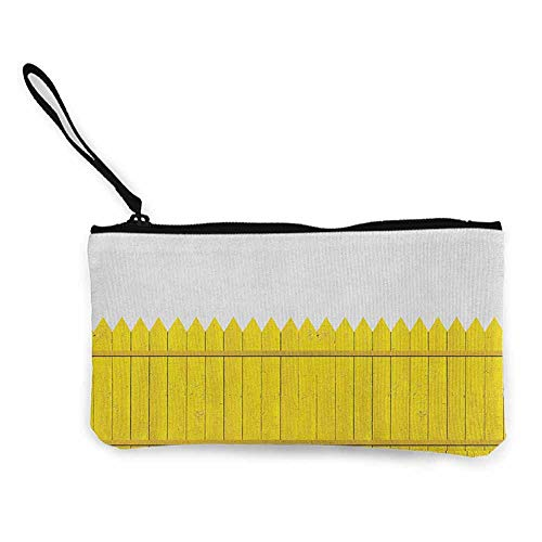 Women's hand bag clutch bag Yellow Colorful Wooden Picket Fence Design Suburban Community Rural Parts of Country Wallet Coin Purses Clutch W 8.5