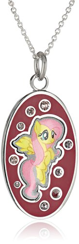 My Little Pony Unisex Fine Silver Plated Crystal Fluttershy Oval Dog Tag Pendant Necklace