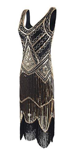 A Or Élégante Femme Années Vintage 1920 Mogu Robe Des TwBZ7w84