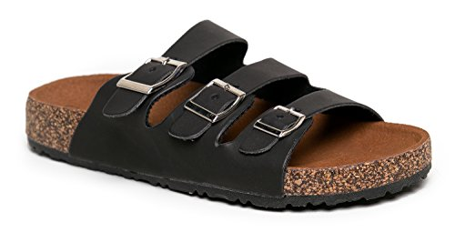 Nature Breeze MELBOURNE-03 Triple Strap Corke Sandal (Triple Strap Black)