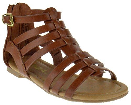 Sod Dixon 2A Little Girls Strappy Peep Toe Gladiator Sandals Tan PU 2