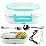 YOUDirect Electric Heating Lunch Box Portable Bento Meal Heater Car Use 12V and Home Office Use 110V 2 in 1 (Blue)