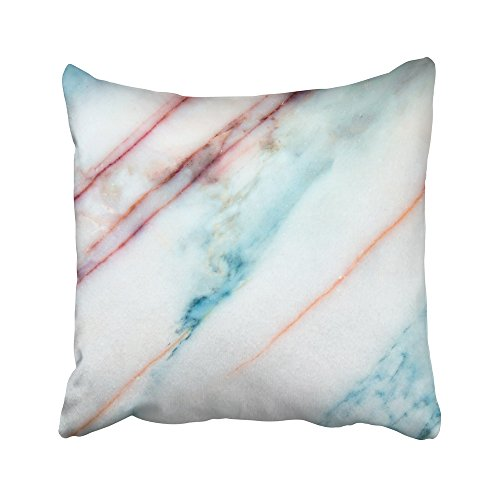 Emvency Decorative Throw Pillow Covers Cases Brown Canvas White Marble Floor Stone Interior Red Pattern Blue High Gray Effect Plate Abstract 16x16 inches Pillowcases Case Cover Cushion Two Sided -