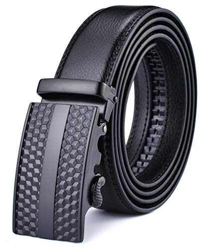 Xhtang Men's Solid Buckle with Automatic Ratchet Leather Belt S ()