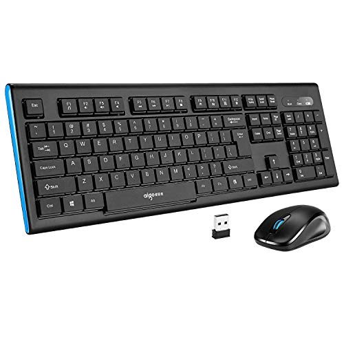 Cordless Media - Wireless Keyboard and Mouse Combo - Aigo Full-Sized Cordless Keyboard with Media Controls, Auto-Off, Soft Spill-Resistant Keys & Comfortable Precision Mice Bundle Set for Desktop Computer PC