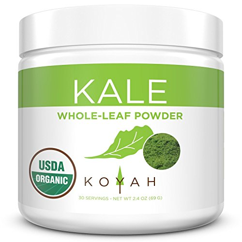 KOYAH - Organic USA Grown Kale Powder (Equivalent to 30 Cups Fresh): Freeze-dried, Whole-Leaf Powder (Best Green Drink Powder 2019)