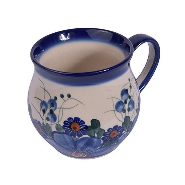 Traditional Polish Pottery, Handcrafted Ceramic Bubble Mug, Boleslawiec Style Pattern, Q.502.Passion