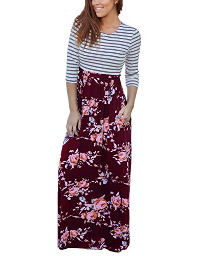 Floral Print Empire Tie Top - MEROKEETY Women's Striped Floral Print 3/4 Sleeve Tie Waist Maxi Dress with Pockets
